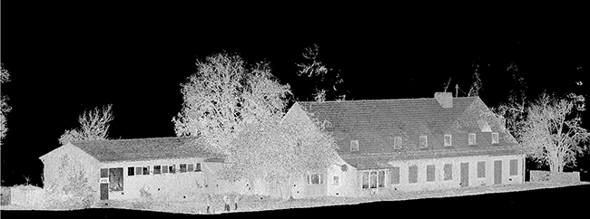 Entire point cloud of the facade, captured using FARO Focus3D S120.