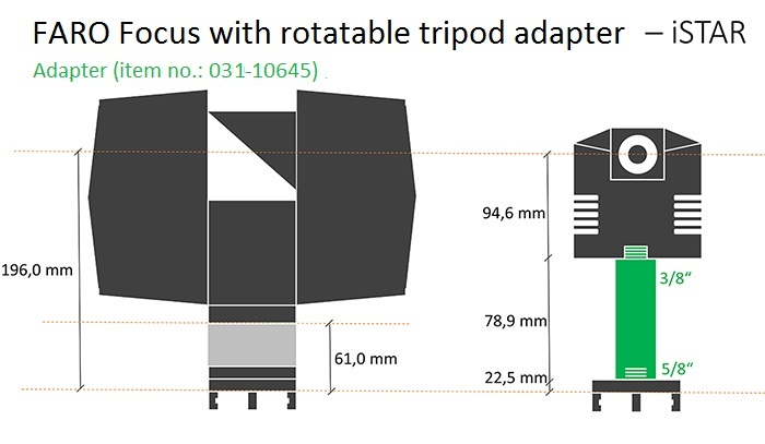 iSTAR adapter for FARO Focus3D with rotatable tripod adapter.