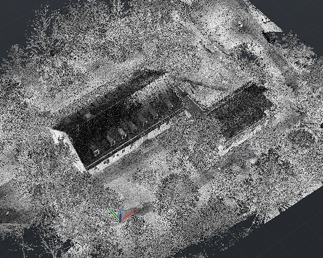 Merged point cloud of FARO scanner data and ZEB-REVO data as point cloud AutoCAD.
