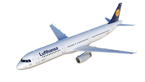 3D model (rendering) of Airbus A321. Source: Lufthansa.