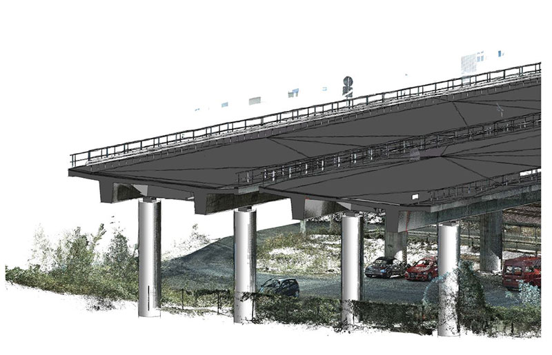 Modelled bridges with point cloud