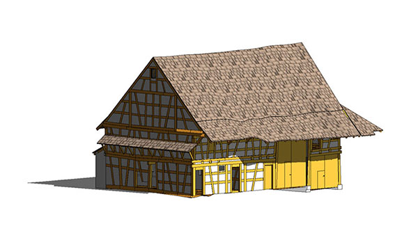 3D model of half-timbered barn