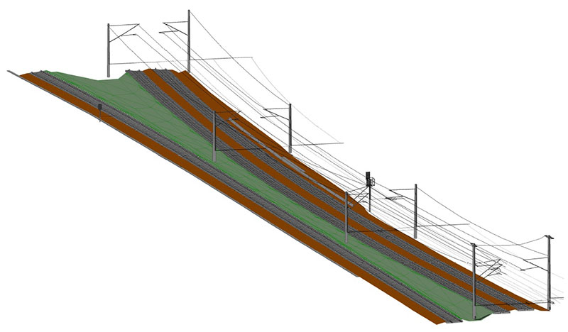 Modelling of steel construction, tracks, overhead lines, etc.